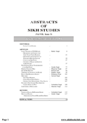 Abstracts Of Sikh Studies 7 Issue 3