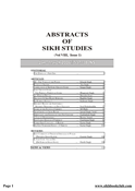 Abstracts Of Sikh Studies 8 Issue 1
