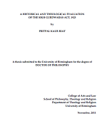 A HISTORICAL AND THEOLOGICAL EVALUATION OF THE SIKH GURDWARAS ACT, 1925 By PRITPAL KAUR RIAT