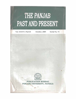 The Punjab Past and Present Vol XXXVI Part II