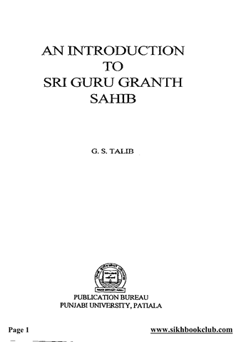 An Introduction To Sri Guru Granth Sahib